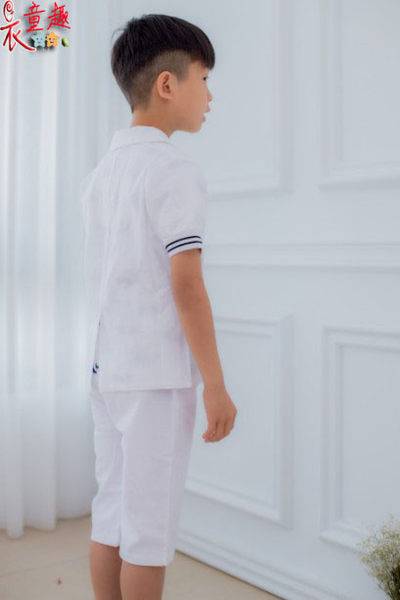 衣童趣 ♥中大男童白色經典款兩件式套裝 西裝外套+褲子花童 喜宴 正式場合 帥氣陽光男童必備款