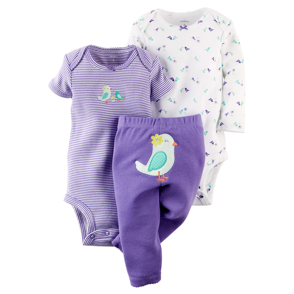 (BJGO) carter's 童裝_baby_3-Piece Bodysuit & Pant Set 花朵小鳥包屁衣/三件組 秋冬新品6M
