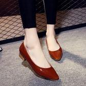 淺口低跟單鞋 小方頭粗跟鞋 漆皮OL鞋【多多鞋包店】z8223