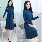 毛衣洋裝 針織連身裙女秋冬冬裝新款收腰氣質內搭毛衣裙子兩件套裝打底 新品