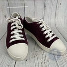 BRAND楓月 PRADA 普拉達 紫紅色 麂皮 皮革 綁帶 板鞋 平底鞋 休閒鞋 #36.5