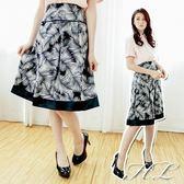 ‧HL超大尺碼‧【14060020】繽紛色調印花優雅及膝裙 2號花