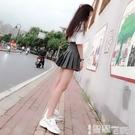 百摺裙 百摺裙短裙女夏高腰灰色學生裙子顯瘦a字短款小個子xs半身裙 【99免運】