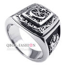 《 QBOX 》FASHION 飾品【R10025238】精緻個性宗教月亮星星紋路鑄造鈦鋼戒指/戒環