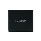 【台中米蘭站】全新品 BALENCIAGA 品牌logo牛皮八卡對開短夾(594549-黑)