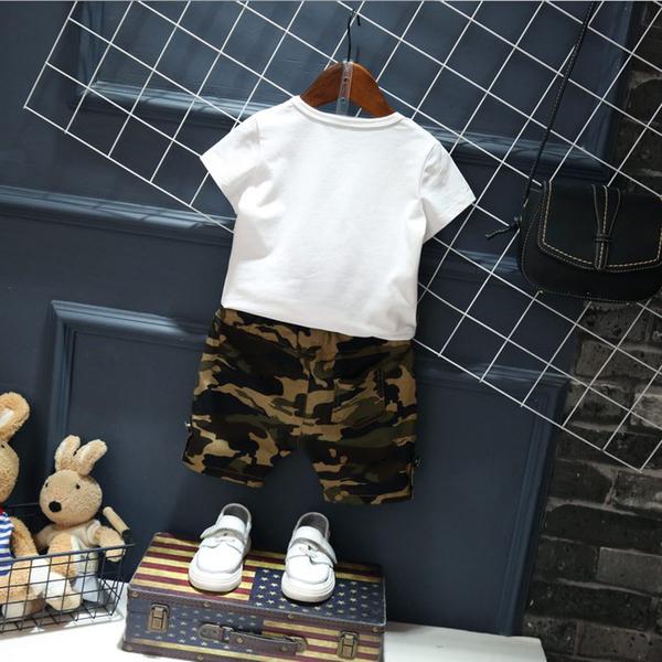 衣童趣♥韓版 兒童兩件式迷彩裝 假兩件帥氣短袖上衣+迷彩短褲 阿兵哥造型套裝【現貨】