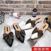穆勒鞋 2021新款夏季時尚百搭包頭半拖鞋女粗跟穆勒鞋尖頭外穿懶人涼拖鞋 薇薇