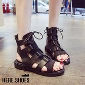 [Here Shoes]涼拖鞋-皮質面料中性簡約 率性羅馬綁帶涼鞋 涼拖鞋-KWC66