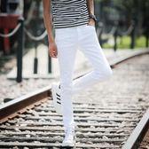 薄款黑白色牛仔褲男士修身型小直筒韓版青少年高彈力小腳褲潮   遇見生活