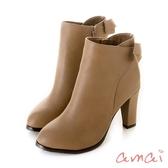 amai《優雅的女士》後蝴蝶結高跟靴 棕