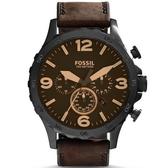 【台南 時代鐘錶 FOSSIL】JR1487 狂野風格 三眼計時腕錶 黑鋼/咖啡 50mm 公司貨開發票