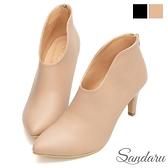 裸靴 顯瘦美型V口尖頭高跟靴-米皮