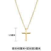 鍍金項鍊 18K鍍金歐美鈦鋼十字架項鍊男女項鎖骨鍊簡約配飾【快速出貨八折搶購】
