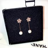 流行韓版氣質玫瑰珍珠日韓潮人花朵耳環飾品
