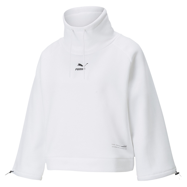 Puma 女款 白色 立領連帽上衣 運動 休閒 棉質 保暖 長袖 帽T 53029902