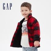Gap男幼童 時尚格紋設計翻領拉鍊夾克 616816-紅色格紋