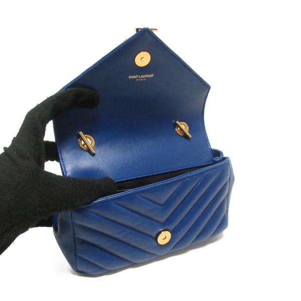 YVES SAINT LAURENT YSL 聖羅蘭 藍色人字紋牛皮LOGO金釦肩背斜背包 MINI COLLEGE