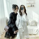 很仙的小眾洋裝春裝女新款波點蕾絲雪紡chic中長款裙子 【傑克型男館】