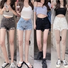 破洞牛仔褲女 夏季 泫雅風 高腰 顯瘦 闊腿褲 熱褲 短褲 2021新款 A字褲子