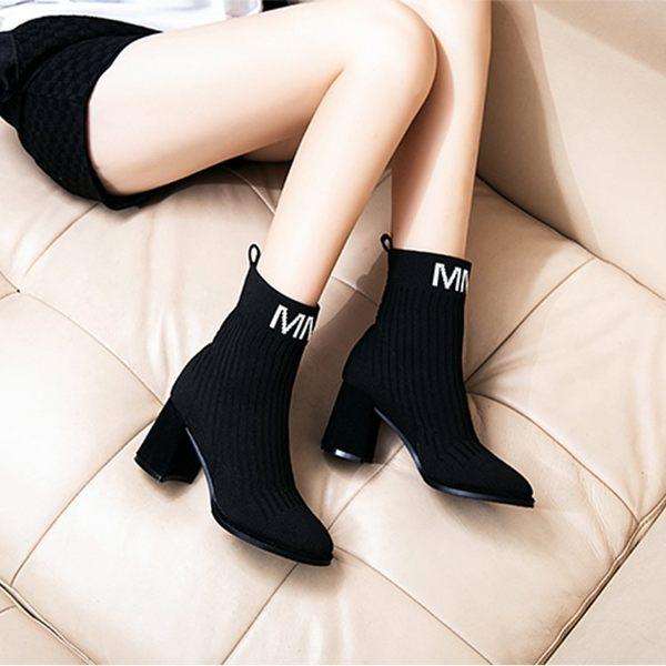 馬丁靴女秋季襪靴粗跟彈力短靴毛線針織百搭正韓高跟踝靴 優樂居