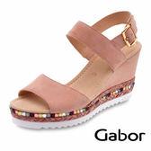 德國GABOR 歐美時尚繞踝楔型涼鞋 粉 65.790.14 女鞋