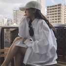 女襯衫 春裝2021年新款襯衫女寬松設計感小眾長袖百搭上衣復古港味白襯衣【快速出貨國慶八折】