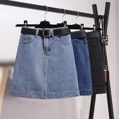 8折免運 牛仔短裙 大尺碼胖mm牛仔半身裙女夏季高腰顯瘦港味復古A字包臀短裙學生