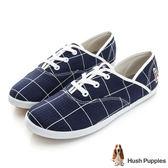 Hush Puppies 大方格咖啡紗帆布鞋-深藍色
