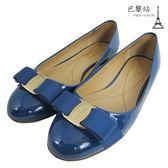 【巴黎站二手名牌專賣店】*現貨*Salvatore Ferragamo 真品*藍色 蝴蝶結平底鞋 (6.5號)
