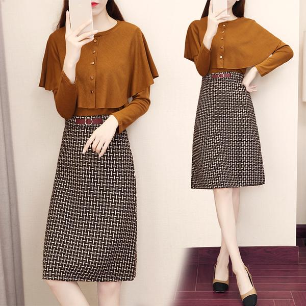 VK旗艦店 韓系披風式上衣針織千鳥格套裝長袖裙裝