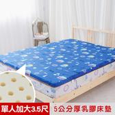 【米夢家居】夢想家園-冬夏兩用馬來西亞5CM乳膠床(3.5尺-深夢藍)