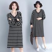 冬季新款學院風學生文藝大尺碼寬鬆打底裙中長款條紋長袖洋裝連身裙 降價兩天