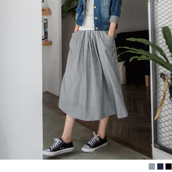 OB嚴選《CA299-》高含棉抽繩綁帶口袋休閒長裙