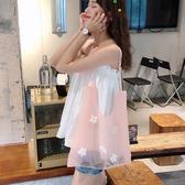 帆布袋 刺繡 花朵 透明 歐根紗 手提包 綁帶 單肩包 購物袋--手提/單肩【SP95302】 icoca  08/29