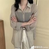 超仙薄款防曬衫女秋新款韓版寬松設計感雪紡上衣小眾長袖襯衫 檸檬衣舍