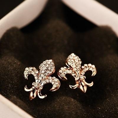 耳環 玫瑰金純銀鑲鑽-有型防過敏生日情人節禮物女飾品73ca204【時尚巴黎】