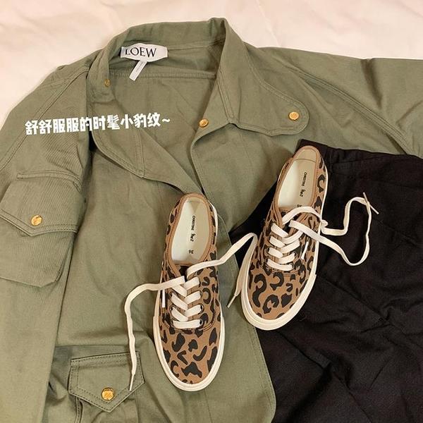 帆布鞋 時髦小豹紋~新款OG休閒系帶帆布鞋女板鞋樂福鞋 港仔會社