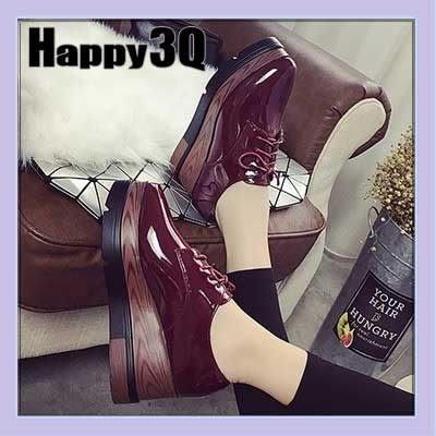 【火速出貨】歐美英倫風厚底綁帶漆皮亮皮尖頭楔型鬆糕鞋-紅36【AAA0652】