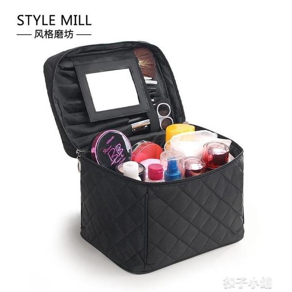 新款韓版大容量洗漱包 大鏡子化妝包多功能 旅行出差防水收納包布