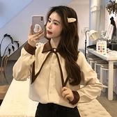 襯衫女裝設計感小眾新款雪紡衫2021春秋季娃娃領時尚潮長袖上衣服 韓國時尚週