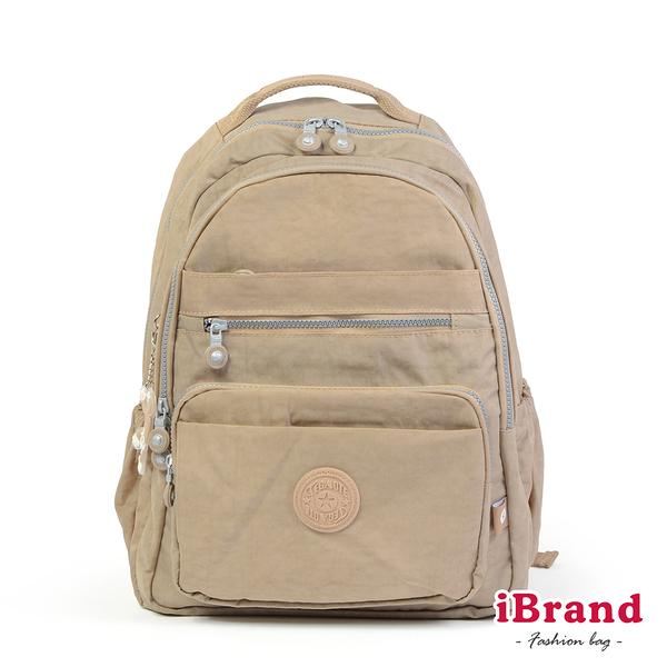 【i Brand】經典百搭超輕盈多口袋後背包-卡其色 TGT-1604-KH