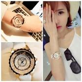 手錶女時尚潮流女錶皮帶防水錶學生氣質正韓水鑽石英錶【免運】