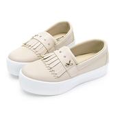 PLAYBOY俏甜流蘇厚底休閒鞋-米-Y621233
