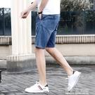 休閒五分牛仔短褲男士夏季薄款外穿寬松緊大碼五分時尚直筒中褲潮 有緣生活館