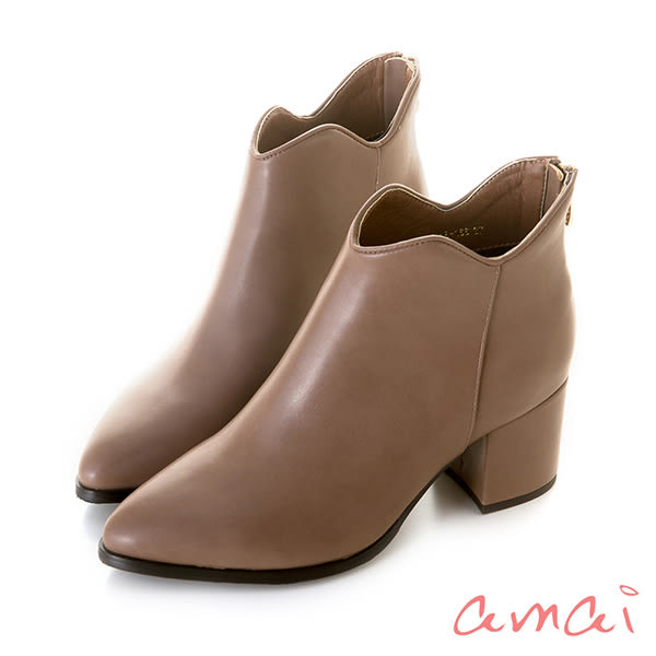 amai 唯美波浪造型粗跟短靴 棕