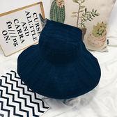 太陽帽子女夏天戶外空頂漁夫帽韓版可折疊布帽出游防曬大檐遮陽帽 全館免運