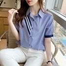 VK精品服飾 韓系時尚雪紡豎條紋方領單排釦單品短袖上衣
