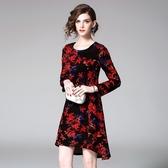 洋裝-長袖圓領樹葉印花絲絨女連身裙2色73of125【巴黎精品】