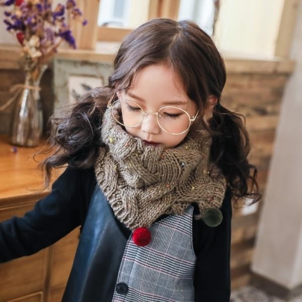 兒童秋冬季圍巾男童女童韓版針織毛線保暖寶寶套頭圍脖毛球加厚潮