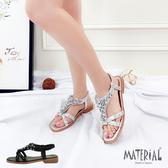 涼鞋 交叉水鑽平底涼鞋 MA女鞋 T4867